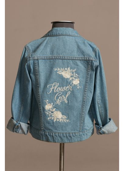 Embroidered Flower Girl Jean Jacket - Wedding Gifts & Decorations