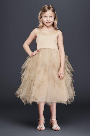 7c6fa79f72e Tiered Tea-Length Tulle Dress. David s Bridal
