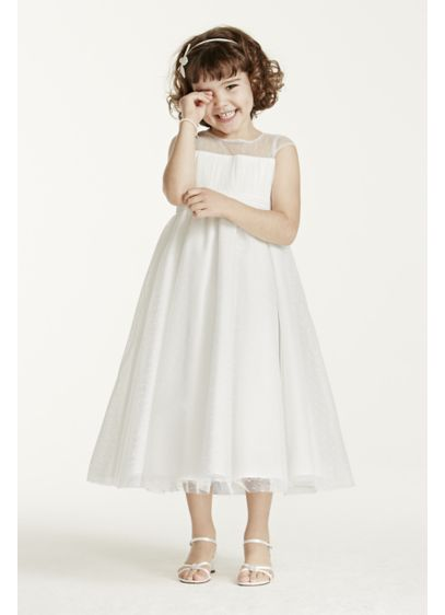 David's Bridal Ivory (Illusion Cap Sleeve Dot Tulle Flower Girl Dress)
