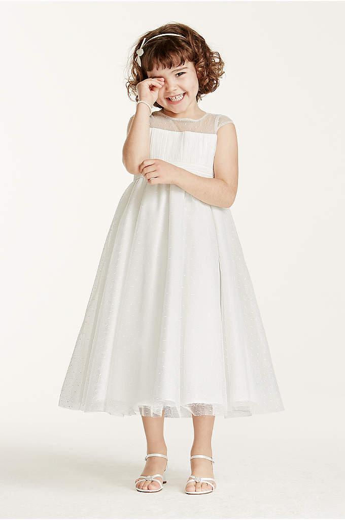 Illusion Cap Sleeve Dot Tulle Dress