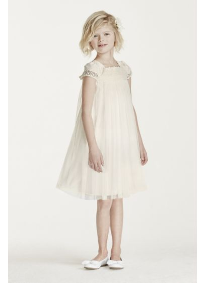 Short Sheath Cap Sleeves Communion Dress -