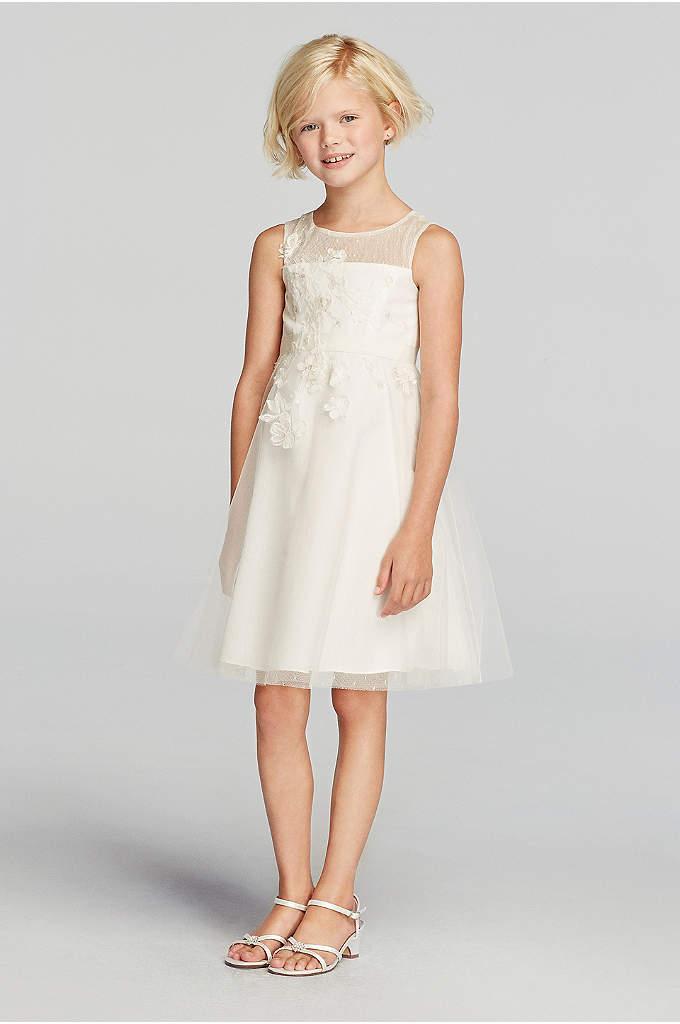 49b6770f8f Lace Applique Illusion Neckline Tulle Dress