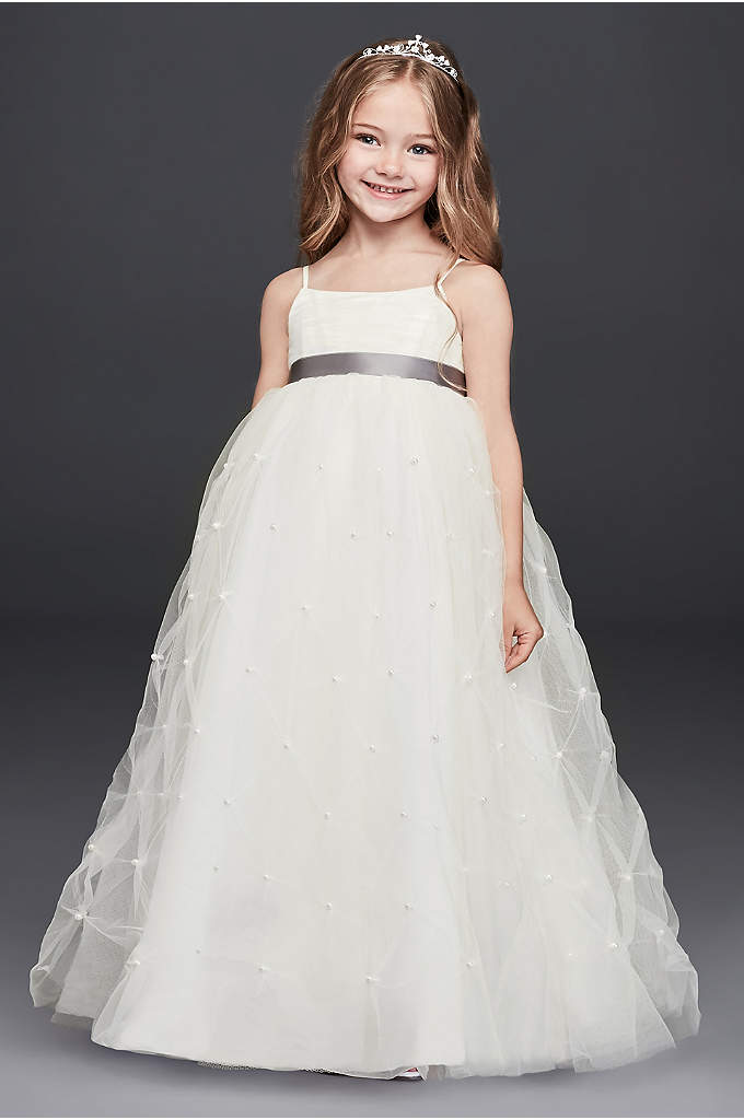 Tulle Flower Girl Dress with Pearl Pick-Ups
