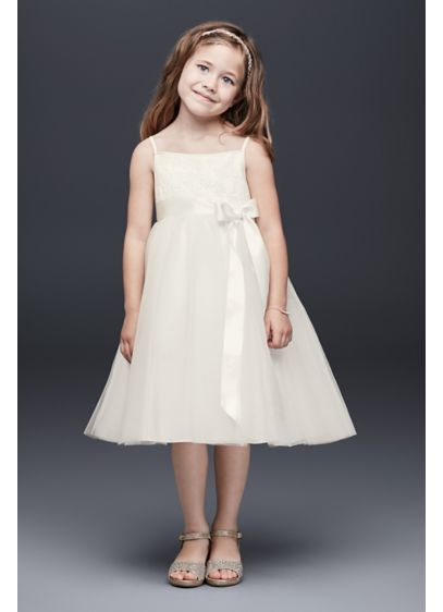 d67c7e69310 Sequin and Tulle Flower Girl Dress with Satin Sash. WG1370. Short Ballgown  Spaghetti Strap Dress - David s Bridal