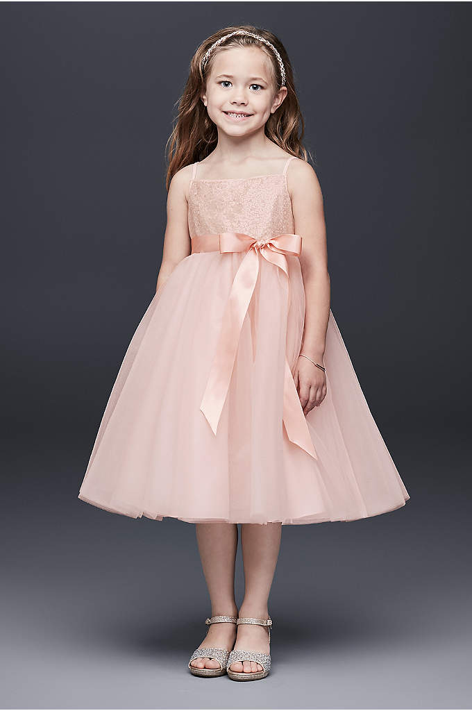 Sequin and Tulle Flower Girl Dress with Satin Sash