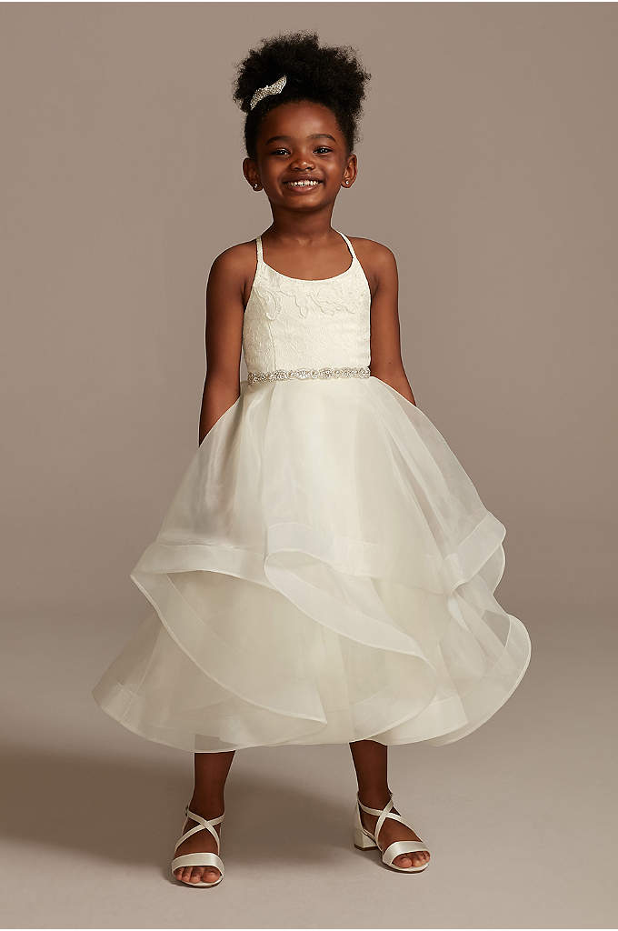 Lace and Tulle Flower Girl Dress with Full - Structured horsehair trim makes the tulle skirt of