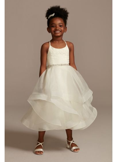 5aa38e19fb02 Lace and Tulle Flower Girl Dress with Full Skirt. WG1371. Long Ballgown  Tank Dress - David's Bridal