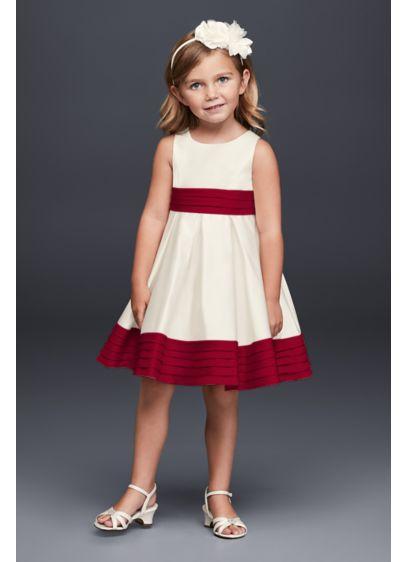 b4a07391e30 Satin Flower Girl Dress with Pleated Waist and Hem