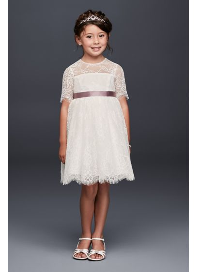 52bf8661f0f Eyelash Lace Fit-and-Flare Flower Girl Dress. David s Bridal