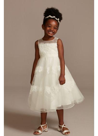 Tea Length Ivory Soft & Flowy David's Bridal Bridesmaid Dress