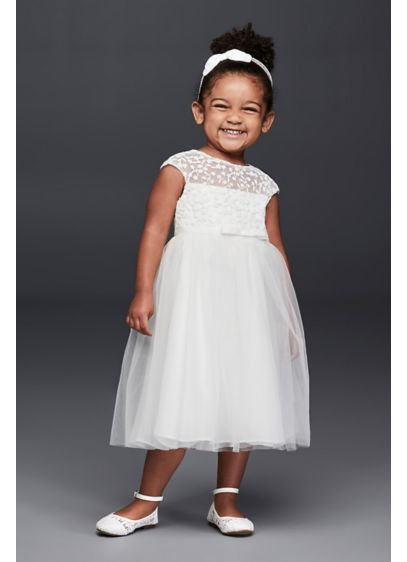 f60bc7bbd111 Tulle Flower Girl Dress with Floral Embroidery