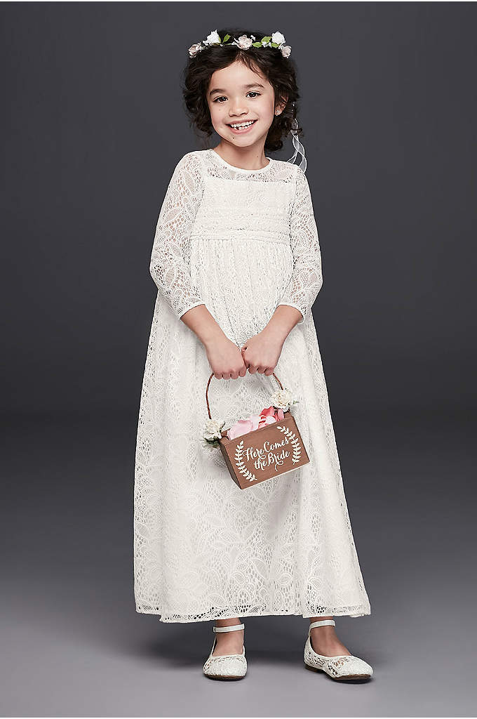 Crochet Lace Flower Girl Illusion Sheath Dress - Your free-spirited little lady will love this crochet