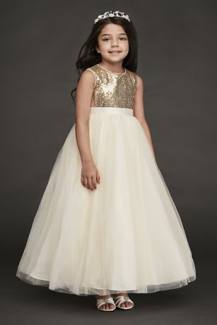 Heart Back Sequin and Tulle Flower Girl Gown | David's Bridal | Tuggl