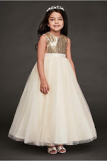 Heart Back Sequin and Tulle Flower Girl Gown