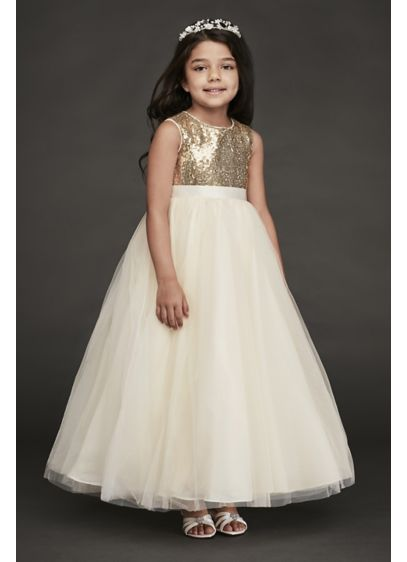 7c2f29002f4 Heart Back Sequin and Tulle Flower Girl Gown. WG1390. Long Ballgown  Spaghetti Strap Dress - David s Bridal