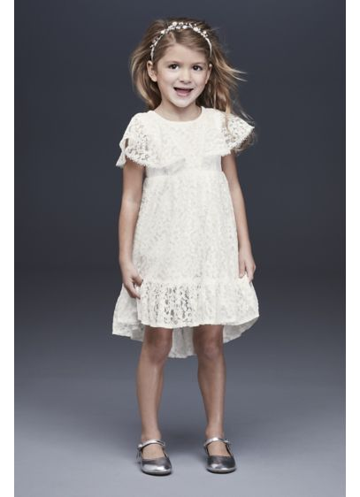Flutter Sleeve Flower Girl Dress with Ruffle Hem - Your flower girl will glide down the aisle