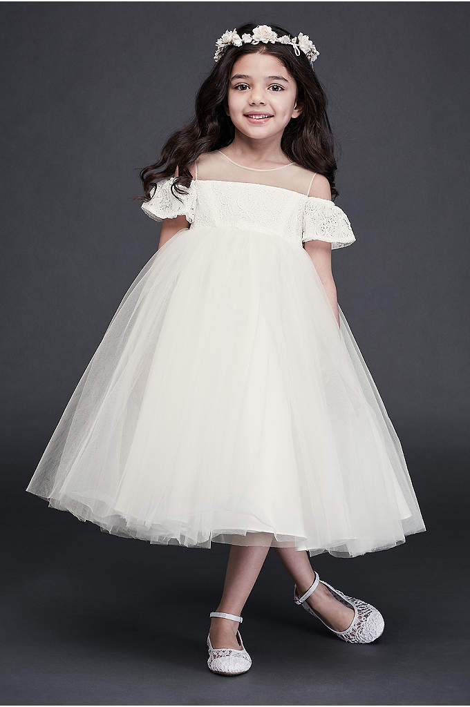 Off the Shoulder Lace and Tulle Flower Girl Dress
