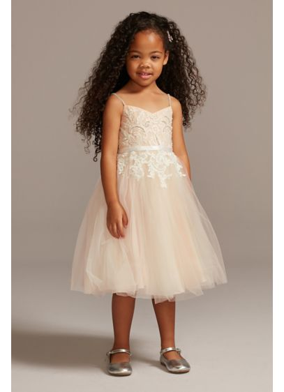 Floral Applique Spaghetti Strap Flower Girl Dress - This enchanting flower girl dress is fit for