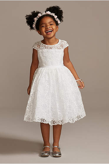 Cap Sleeve Lace Heart Cutout Flower Girl Dress