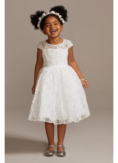 Cap Sleeve Lace Heart Cutout Flower Girl Dress - While the whimsical floral lace pattern and sweet