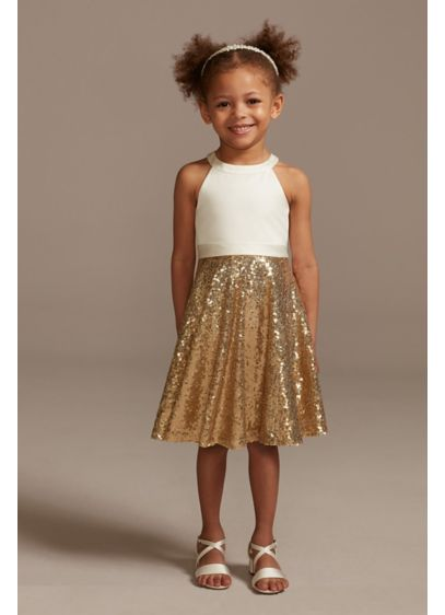 High Neck Sequin Skirt Flower Girl Dress with - She'll be ready to celebrate as soon as