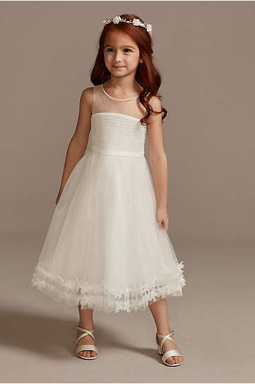 Illusion Pleated Flower Girl Dress with 3D Florals