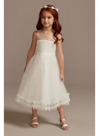Illusion Pleated Flower Girl Dress with 3D Florals - An elegant option for your flower girl, this