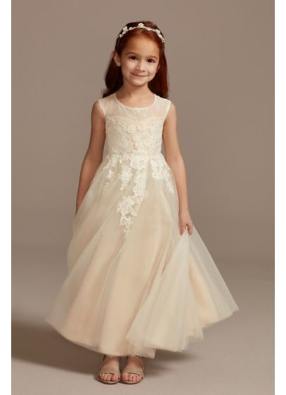 Illusion and Tulle Flower Girl Dress with Applique - Intricate floral lace appliques cascade down the bodice