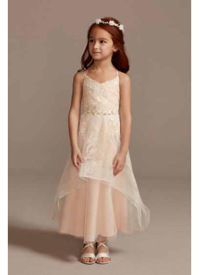 Glitter Tulle Flower Girl Dress with Keyhole Back - Glittery floral blooms and lace appliques adorn the