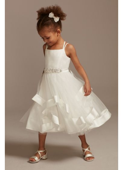 Double Strap Flower Girl Dress with Satin Edge - She'll love to twirl in this tea-length flower
