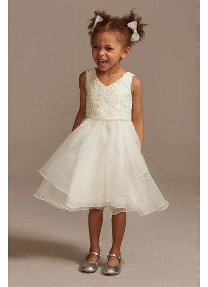 Lace Applique Flower Girl Dress with Tiered Skirt - Luxurious floral appliques cover the bodice of this