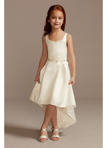 Satin Flower Girl Dress with High Low Hem - This classic flower girl dress is crafted from