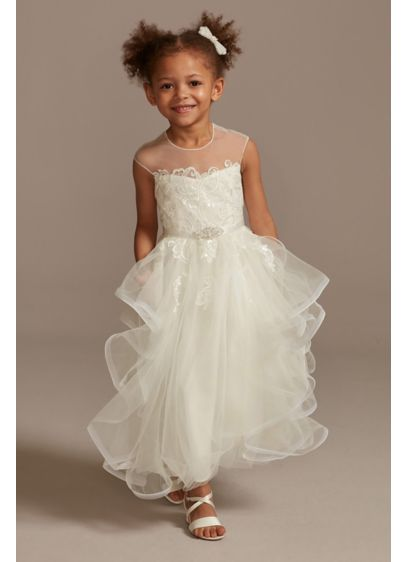 Cap Sleeve Flower Girl Dress with Horsehair Skirt - A flower girl dress fit for royalty, this