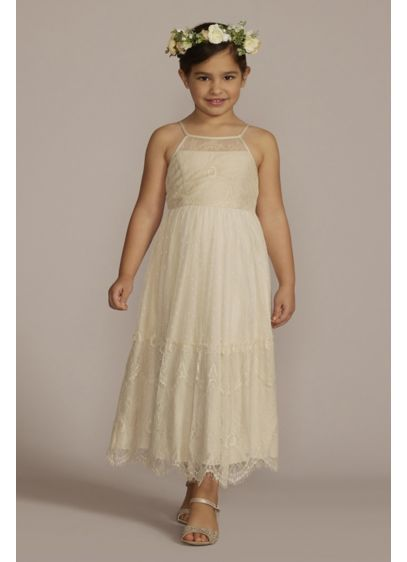 Lace Boho Flower Girl Dress with Keyhole Back - Perfect for a boho wedding, this vintage-inspired flower