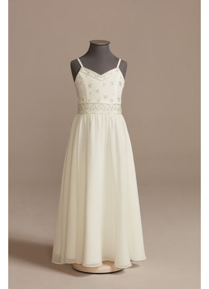 Beaded Chiffon Spaghetti Strap Flower Girl Dress - Scattered beads adorn the V-neck bodice of this