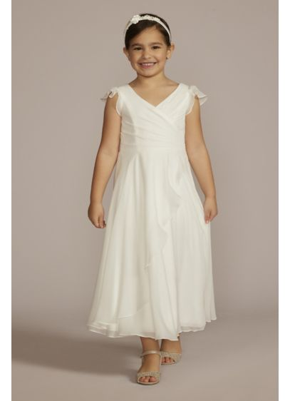 Faux-Wrap Flutter Sleeve Chiffon Flower Girl Dress - Sweet flutter sleeves, a gathered surplice bodice, and
