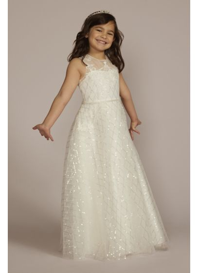Lace Applique Sequin Tulle Flower Girl Dress - Adorned with shimmering sequins in a lattice motif,