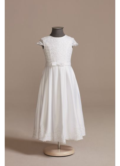 Lace and Satin A-Line Communion Dress with Bow - She'll shine on her special day in this