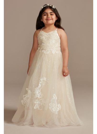 Floral Applique Cross-Back Flower Girl Dress - Your flower girl will feel like a princess