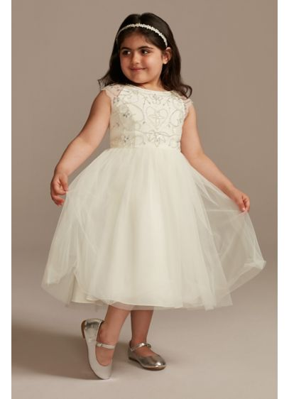 Beaded Bodice Cap Sleeve Tulle Flower Girl Dress - A sweet bead pattern adds sparkle and shine