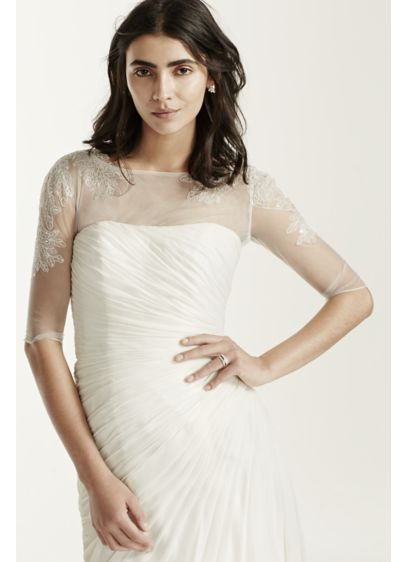 3/4 Sleeve Tulle Topper with Lace Appliques - Wedding Accessories