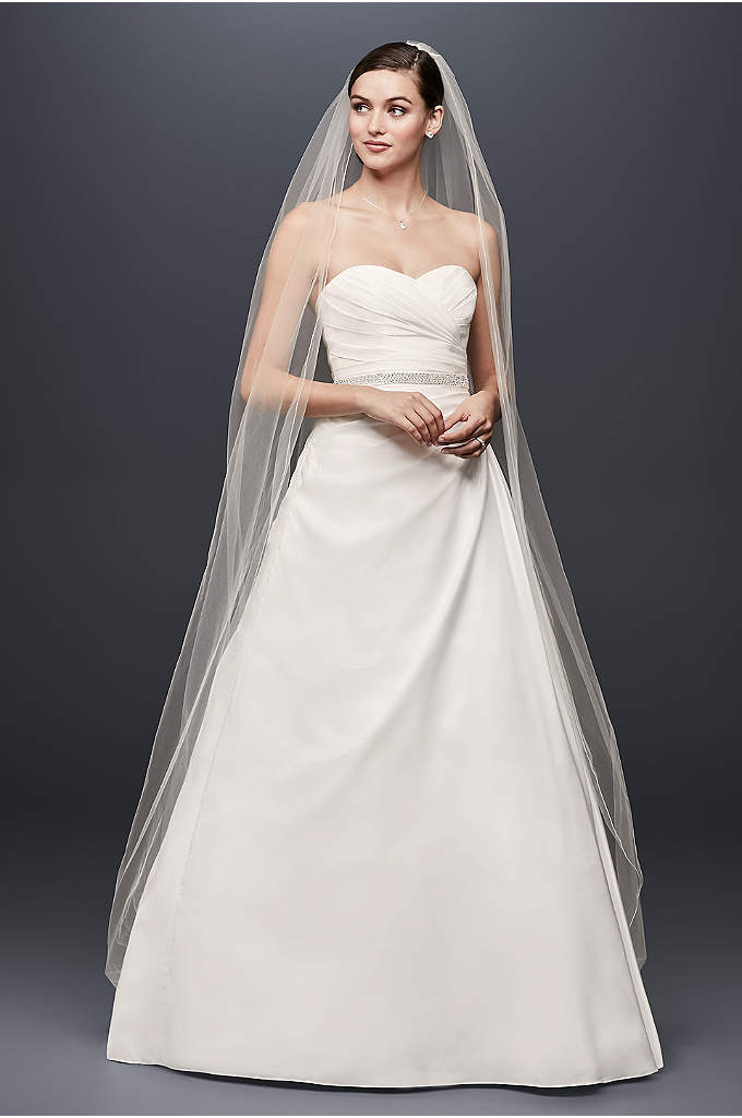 Taffeta A-Line Wedding Dress with Sweetheart Neck - Simple yet stunning, this taffeta gown is a