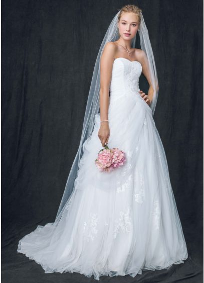 Tulle Wedding Dress With Lace Up Back With Draping