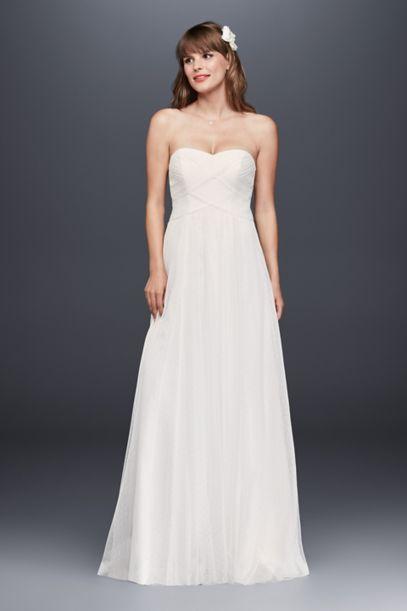 swiss dot tulle empire waist soft wedding gown davids