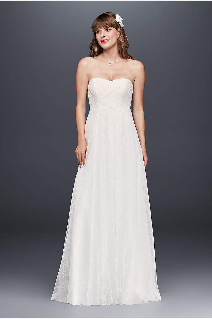 Swiss Dot Tulle Empire Waist Soft Wedding Gown - This delicate dotted tulle wedding gown falls gracefully