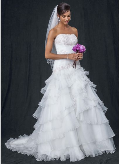 Pleated Wedding Dress with Tiers and Lace-Up Back | David\'s Bridal
