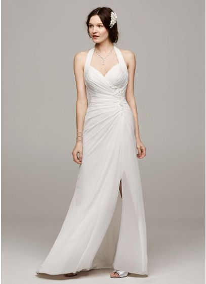 Chiffon Halter Wedding Dress With High Slit David S Bridal