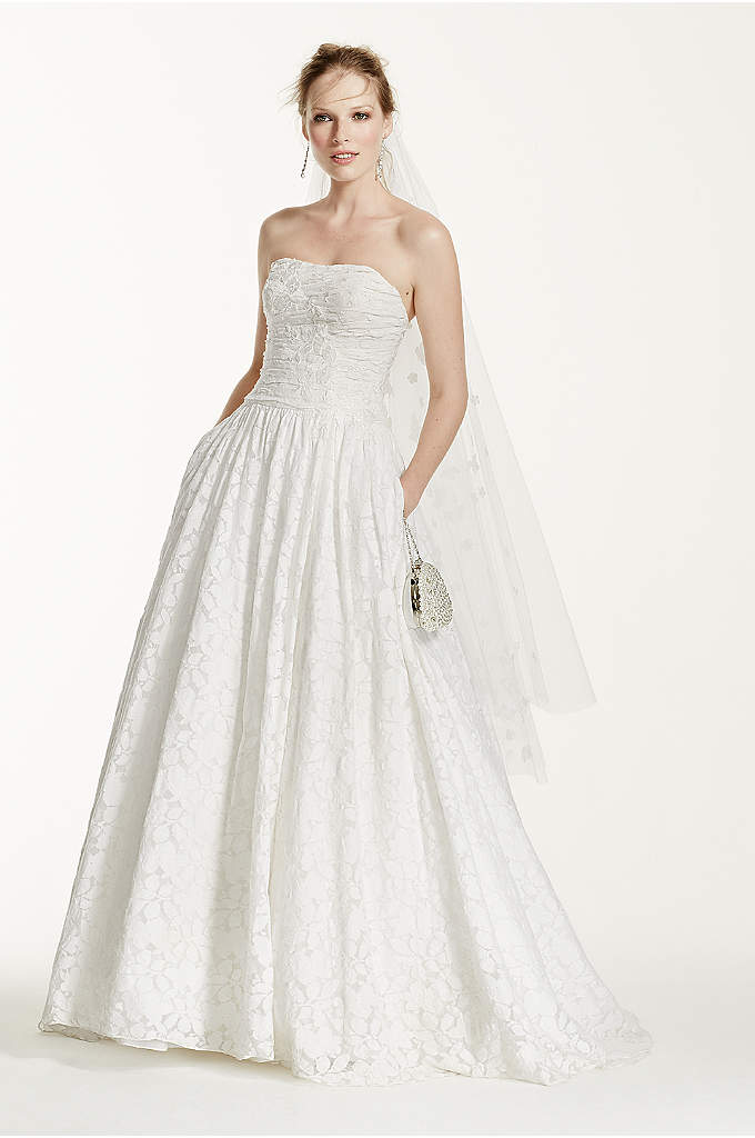 Lace Ball Gown with Intricate Embroidered Details - Whether you're celebrating your nuptials in a rustic