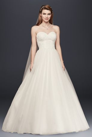 strapless wedding dress with lace corset bodice  david's