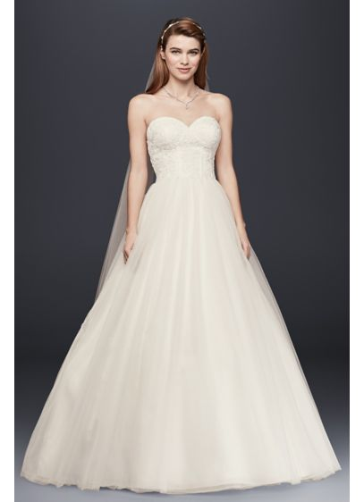 Strapless Wedding Dress with Lace Corset Bodice | David\'s Bridal